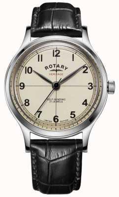 Rotary | herren | limitierte Auflage | Erbe | schwarzes Lederband | GS05125/32