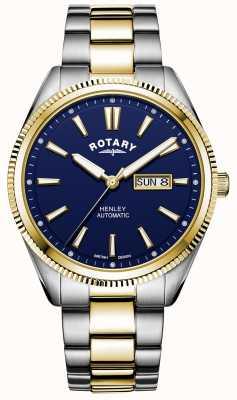Rotary Henley für Herren | zweifarbiges Edelstahlarmband | blaues Zifferblatt GB05381/05