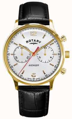 Rotary Rächer der Männer   schwarzes Lederband   Goldgehäuse   weißes Zifferblatt GS05206/70