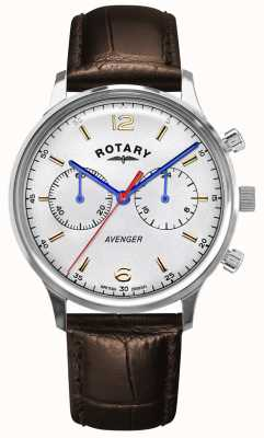 Rotary Männerrächer | braunes Lederband | silbernes Zifferblatt GS05203/70