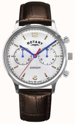 Rotary Rächer der Männer | braunes Lederband | silbernes Zifferblatt GS05203/70