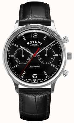 Rotary Rächer der Männer   schwarzes Lederband   schwarzes Zifferblatt   GS05203/04