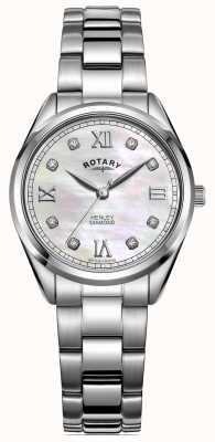 Rotary Frauen Henley | Edelstahlarmband | diamantbesetztes Zifferblatt LB05110/07/D