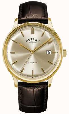 Rotary Rächer der Männer | braunes Lederband | Champagner-Zifferblatt GS05403/03