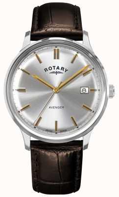 Rotary Männerrächer | braunes Lederband | silbernes Zifferblatt | GS05400/06