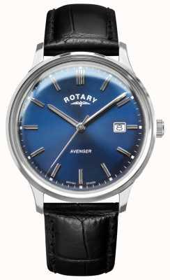 Rotary Rächer der Männer | schwarzes Lederband | blaues Zifferblatt | GS05400/05