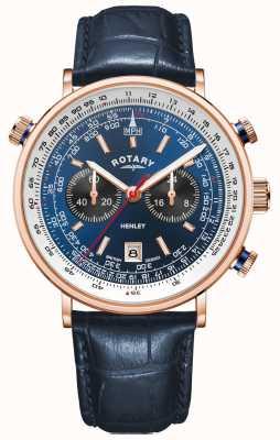 Rotary Henley für Herren | roségold pvd hülle | blaues Leder | blaues Zifferblatt GS05237/05