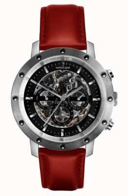 Weird Ape Icarus 3-Zifferblatt-Uhr mit schwarzem, silbernem und rotem Lederskelett WA02-005722
