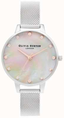 Olivia Burton | Demi Mop Zifferblatt mit Schraubendetail | silbernes Netzarmband | OB16SE07