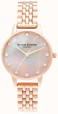 Olivia Burton | Midi Mop Zifferblatt mit Schraubendetail | Roségold Armband | OB16SE10