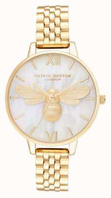 Olivia Burton Lucky Bee Perlmutt Demi Zifferblatt Gold Armband OB16FB18
