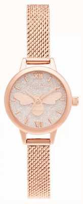 Olivia Burton Lucky Bee Mini Zifferblatt Roségold Mesh Armband OB16FB15
