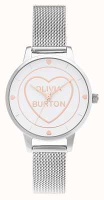 Olivia Burton Sweet Heart Midi Silber Mesh weißes Zifferblatt OB16CD02