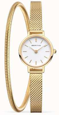 Bering Muttertagsgeschenkset | goldene Netzuhr und Armband 11022-334