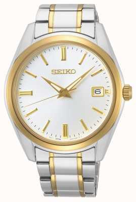 Seiko | konzeptionelle Herren Quarz | zweifarbiges Armband | silbernes Zifferblatt SUR312P1