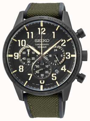 Seiko | konzeptionelle Herren Quarz | militärisches grünes Armband | schwarzes Zifferblatt SSB369P1