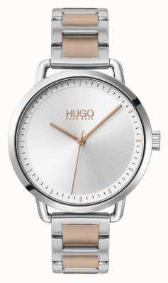 HUGO | #mellow | zweifarbiges Stahlarmband | weiß / silbernes Zifferblatt | 1540057