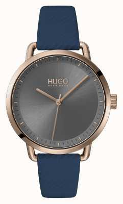 HUGO | #mellow | blaues Lederband | graues Zifferblatt | 1540054