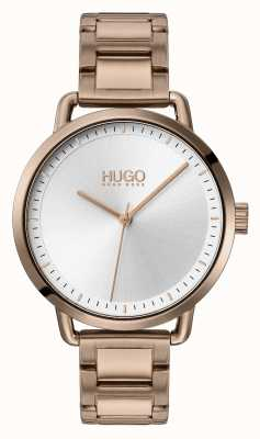 HUGO #mellow | beige vergoldetes Stahlarmband | silbernes Zifferblatt | 1540056
