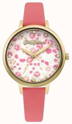 Cath Kidston Damen Zifferblatt mit Blumendruck | Korallenlederarmband CKL096PG