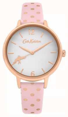 Cath Kidston Rosa gepunktetes Lederband | weißes Zifferblatt | CKL088P