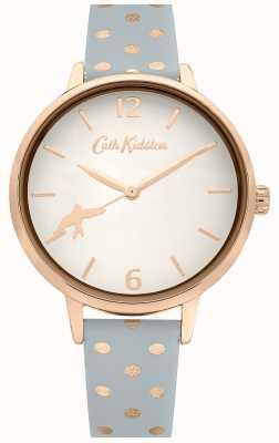 Cath Kidston Graues gepunktetes Lederband | weißes Zifferblatt | CKL088E