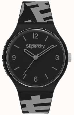 Superdry Mattschwarzes Zifferblatt | schwarz / graues Silikonband | SYG294BE