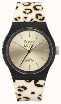 Superdry Gebürstetes Champagnerzifferblatt | Armband mit Leopardenmuster | SYG299GB