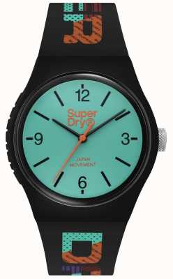 Superdry Mattes blaugrünes Zifferblatt   schwarzes Silikonband   SYG301BAU