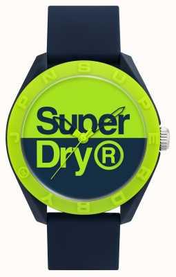 Superdry Navy Silikonarmband | blau / grünes Zifferblatt SYG303UN