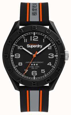 Superdry Mattschwarzes Zifferblatt | schwarz / grau / orange Armband | SYG305EB