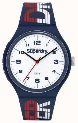 Superdry Blau / weiß / rotes Silikonband | weißes Zifferblatt | SYG269UW