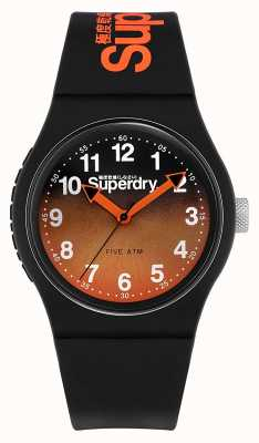 Superdry | schwarzes Silikonband | schwarz / orange zweifarbiges Zifferblatt | SYG198BO