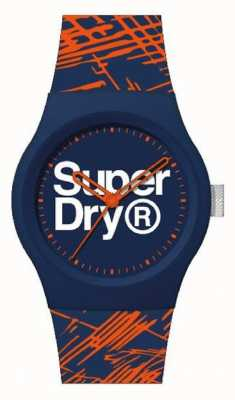 Superdry Marine / orange Silikonarmband | Marine / Orange / Weißes Zifferblatt | SYG292OU
