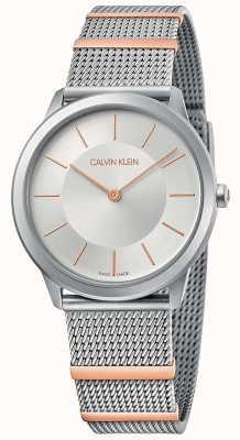 Calvin Klein | minimal | Stahlgitterarmband | silbernes Zifferblatt | 35mm K3M521Y6