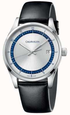 Calvin Klein | Fertigstellung | schwarzes Lederband | silber / blaues Zifferblatt | KAM211C6