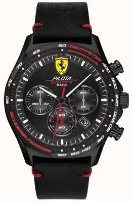 Scuderia Ferrari | Männerpilota evo | schwarzes Lederband | schwarzes Zifferblatt 0830712
