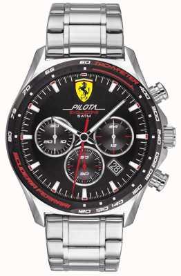 Scuderia Ferrari | Männerpilota evo | Edelstahlarmband | schwarzes Zifferblatt | 0830714