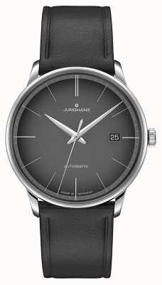Junghans Meister automatische schwarze Leder schwarz Zifferblatt 027/4051.00