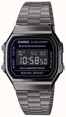 Casio | Vintage | silbernes Edelstahlarmband | schwarzes Zifferblatt | A168WEGG-1BEF