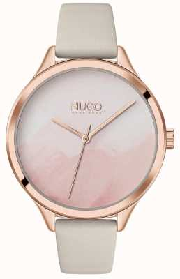 HUGO #smash | rosa erröten Zifferblatt | cremefarbenes Lederband 1540059