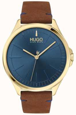 HUGO #smash | blaues Zifferblatt | braunes Lederband 1530134