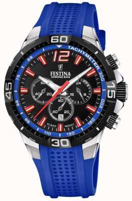 Festina Chrono Bike 2020 schwarzes Zifferblatt blaues Armband F20523/1