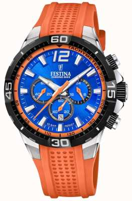 Festina Chrono Fahrrad 2020 blaues Zifferblatt orange Armband F20523/6