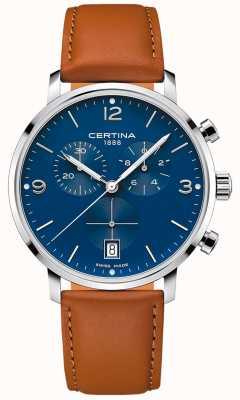 Certina Männer | ds caimano | Chronograph | blaues Zifferblatt | braunes Leder C0354171604700
