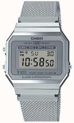 Casio | Vintage | Stahlgitterarmband | Stoppuhr | LED-Hintergrundbeleuchtung A700WEM-7AEF