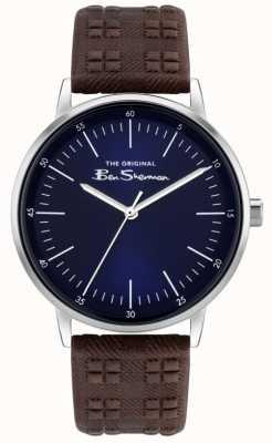 Ben Sherman   Herren braunes Lederband mit Karomuster   blaues Zifferblatt BS031BR