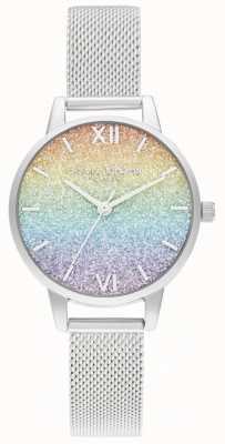 Olivia Burton Damen Silber Mesh Armband | mehrfarbiges Glitzerzifferblatt OB16GD69