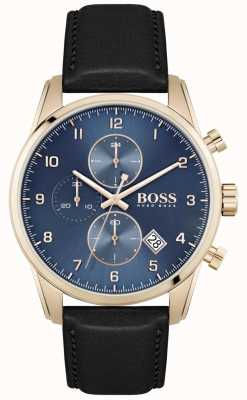 BOSS Skymaster | schwarzes Lederarmband für Herren | blaues Zifferblatt 1513783