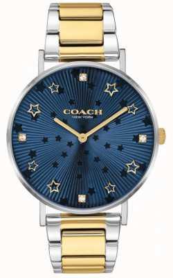 Coach | Frauen Birne | zweifarbiges Stahlarmband | blaues Sternzifferblatt 14503523